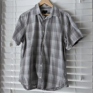 Banana Republic factory gray plaid collared shirt